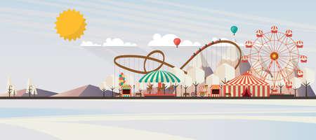winter garden: Flat illustration of amusement park at daytime in winter illustration