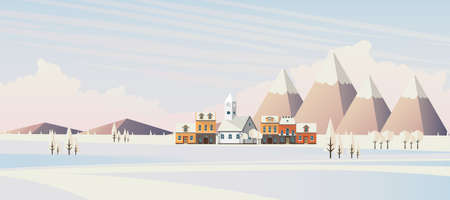 Flat illustration of winter landscape, Vector Design,