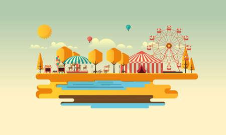 coaster: Amusement park at autumn daytime flat illustration Illustration