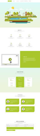 Green One Page Website Design Template Vector Design in Professional.