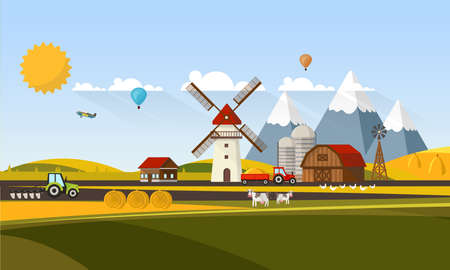 plow: Colorful Flat Design of Agricultural Rural Landscape, Vector Illustration.