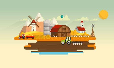 Colorful Abstract Design of Flat Agricultural Rural Landscape, vector Illustration.