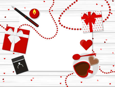 Valentines Day Vector Design on Wooden Table. Illustration