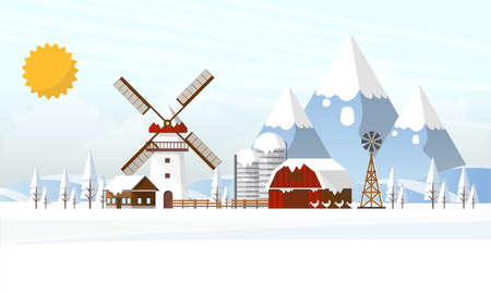 Abstract Landscape in Winter Farmland Flat Design. Vector Illustration. Illustration