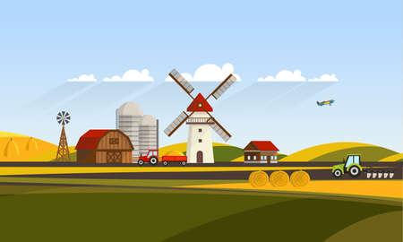 arando: Colorful Flat Design of Agricultural Rural Landscape, Vector Illustration.