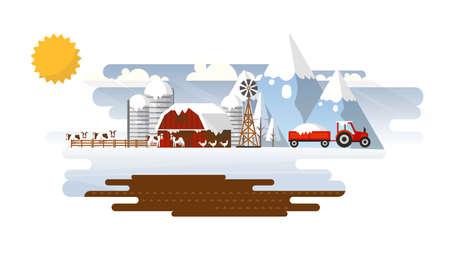 Abstract Landscape in Winter Farmland Flat Design. Vector Illustration. Illustration