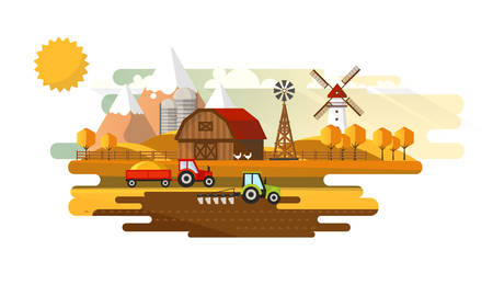 Colorful Abstract Design of Flat Agricultural Rural Landscape, Vector Illustration. Illustration