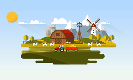 Colorful Abstract Design of Flat Agricultural Rural Landscape, Vector Illustration. Illustration