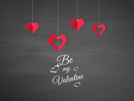 Vector Hanging Origami Hearts. Valentines Day Design, Ilustração