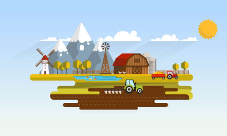 plow: Colorful Abstract Design of Flat Agricultural Rural Landscape, Vector Illustration. Illustration