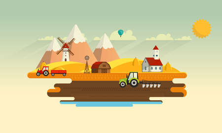 Colorful Abstract Design of Flat Agricultural Rural Landscape, Vector Illustration. Vettoriali