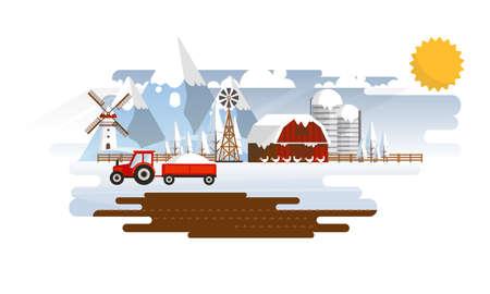 winter garden: Abstract Landscape in Winter Farmland Flat Design. Vector Illustration. Illustration