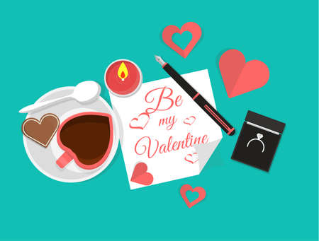 Vector Top View of Valentines Day Elements