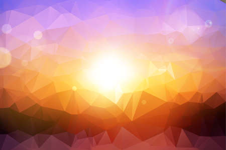 colofrul: Low Polygon Colofrul Sunset Background, Vector Illustration
