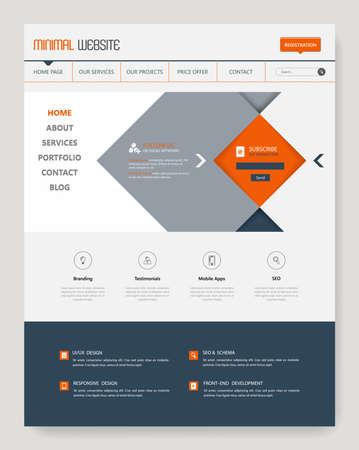 Clean Simple Minimalistic Website Template Interface, Vector Illustration. Vektoros illusztráció