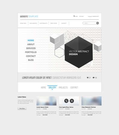 Clean Simple Minimalistic Website Template Interface, Vector Illustration.