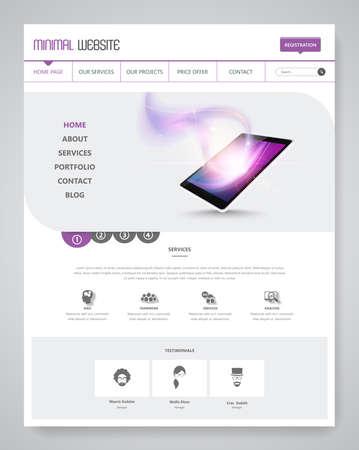 Clean Modern Website Template Interface, Vector Illustration.