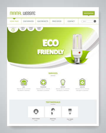 Eco Clean Modern Website Template Interface, Vector Illustration.