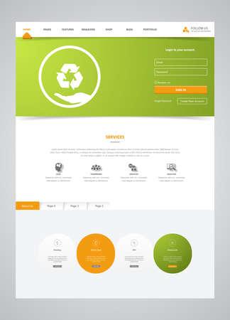 Eco Clean Modern Website Template Interface, Vector Illustration. Vektoros illusztráció