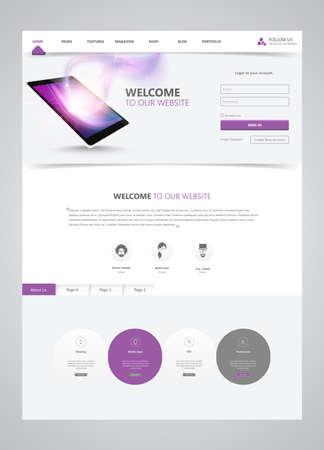 Clean Modern Website Template Interface, Vector Illustration. Vektoros illusztráció