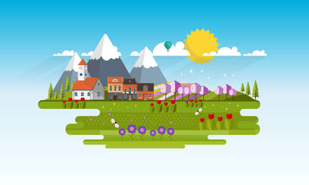vecor: Spring Landscape Illustration Vecor. Illustration
