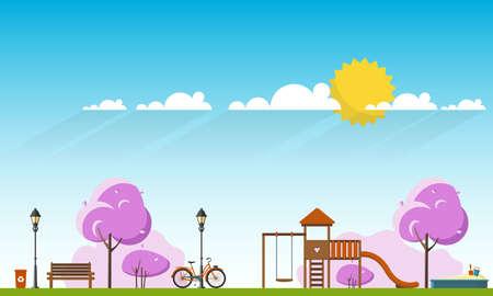 Public park in Spring Season. Flat Vector illustration. Illustration