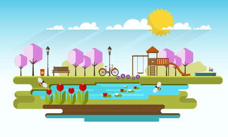 sandbox: Public park in Spring Season. Flat Vector illustration. Illustration