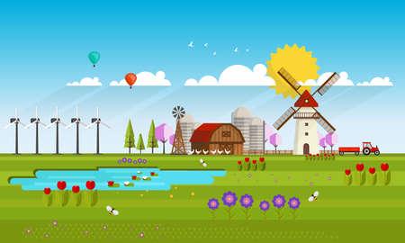 vecor: Spring Landscape Abstract Flat Vecor Illustration. Illustration