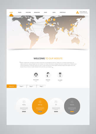 Clean Modern Website Template Interface with Earth Map Header, Vector Illustration. Vektoros illusztráció