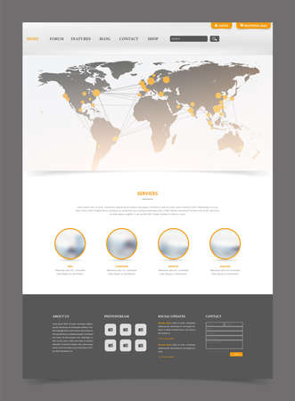 Clean Modern Website Template Interface with Earth Map Header, Vector Illustration.