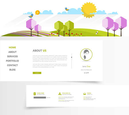 icons site search: Colorful Green Eco Website Template, Vector Illustration.