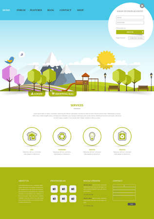 Colorful Green Eco Website Template, Vector Illustration.