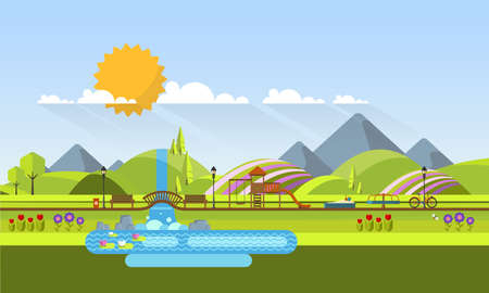 Vector Beautiful Spring Landscape in Flat Design Style with Playground.
