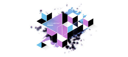 Geometric glitch abstract vector background. Modern chaos illustration. Illustration