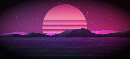 80s Retro Sci-Fi Background with Sunrise or Sunset. Vector retro futuristic synth wave illustration posters in 1980s style. Vector Illustation, Banco de Imagens - 76709840