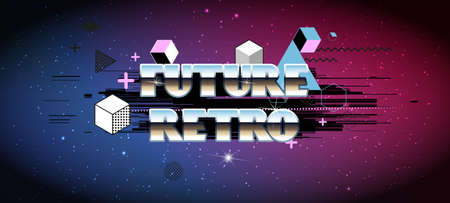 seventies: 80s Retro Sci-Fi Background with Sunrise or Sunset. Vector retro futuristic synth wave illustration posters in 1980s style. Vector Illustation,
