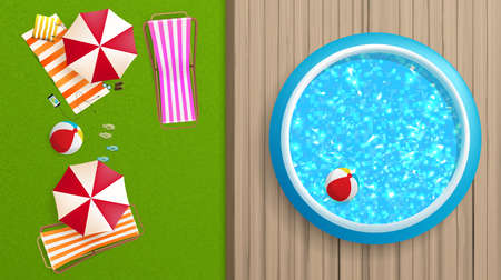 Photorealistic Vector Summer Background. Top View of Fast pool and parasol.