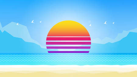 lagoon: Creative Abstract Vector Summer Landscape, with Space for Your Text.