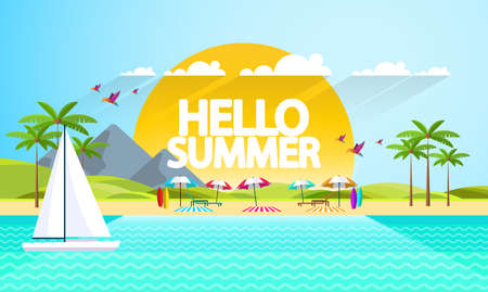Flat Summer Background design. Vector Beach Landscape.