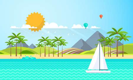 Flat Summer Background design. Vector Beach Landscape.