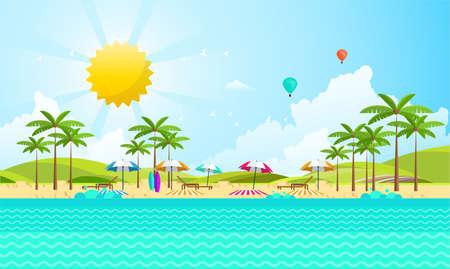 coastal: Flat Summer Background design. Vector Beach Landscape.