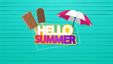 Hello Summer Vector Background, Ice Cream with Lettering on Colorful Wooden floor.