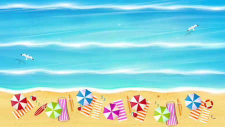 Aerial view of summer beach in photorealistic vector style.