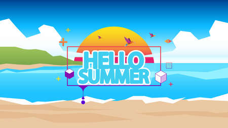 lagoon: Abstract Summer Vector Background Abstract Summer Label with Low Polygon Beach Landscape.