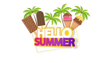 Hello Summer Lettering with Ice Cream, Isolated on White Illustration
