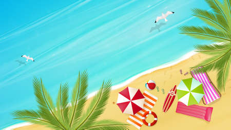 Luftaufnahme des Sommer-Strandes in photorealistischen Vektor-Stil.