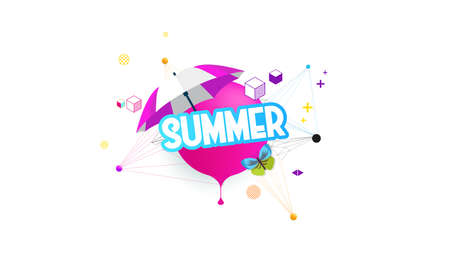 Abstract Summer Vector Illustration Decorative Greeting Background on White.