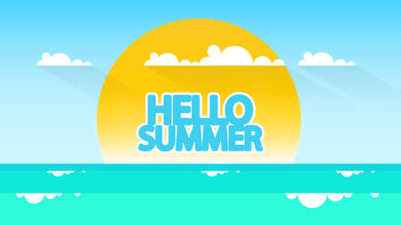 beach sunset: Summertime Flat Style Vector Landscape with Space for Your Text