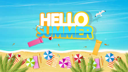 Aerial view of summer beach in photorealistic vector style lettering with Hello Summer
