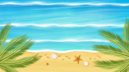 photorealistic: Aerial view of summer beach in photorealistic vector style.